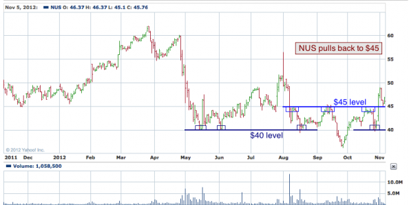 1-year chart of NUS (Nu Skin Enterprises, Inc.)