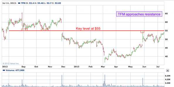 1-year chart of TFM (The Fresh Market, Inc.)