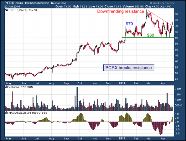 1-year chart of PCRX (Pacira Pharmaceuticals, Inc.)