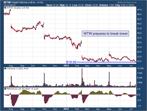 1-year chart of WTW (Weight Watchers International)