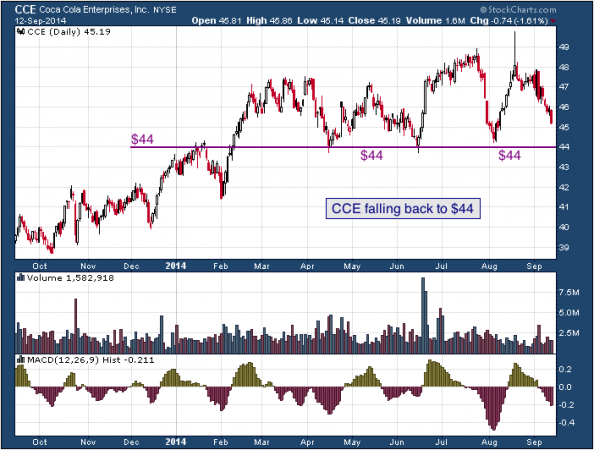 1-year chart of Coca-Cola (NYSE: CCE)