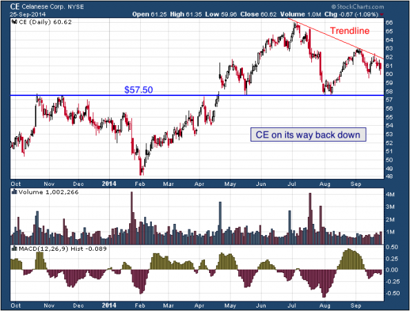1-year chart of Celanese (NYSE: CE)