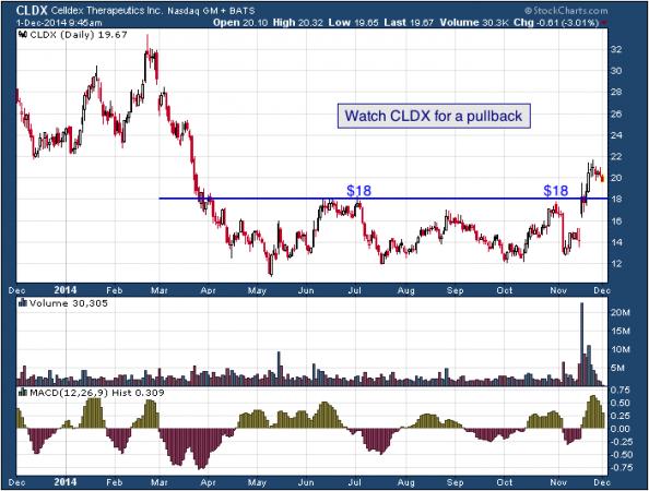 1-year chart of Celldex (Nasdaq: CLDX)