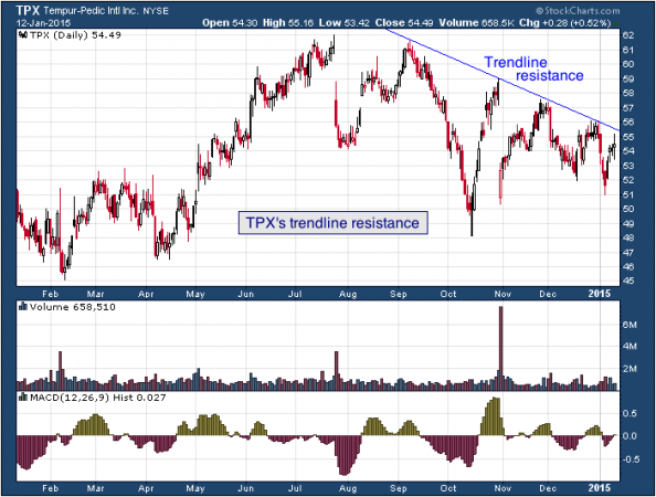 1-year chart of Tempur (NYSE: TPX)