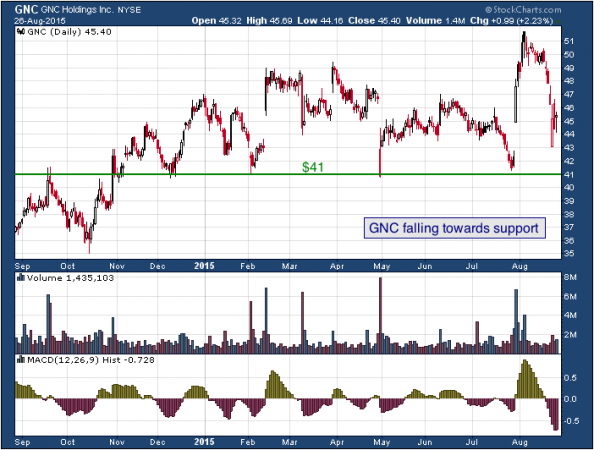 1-year chart of GNC (NYSE: GNC)