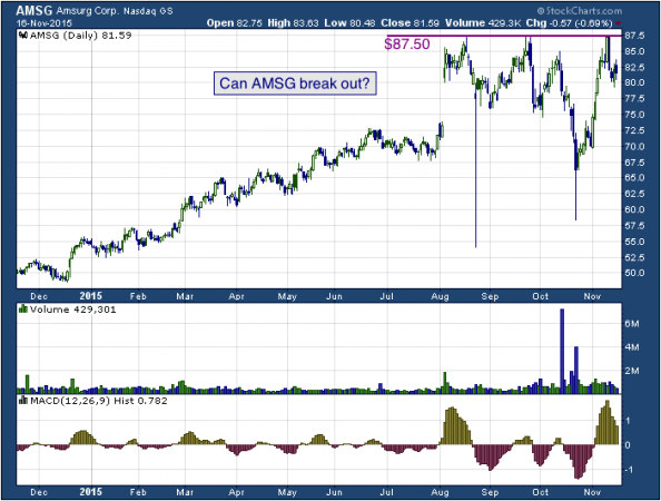 1-year chart of Amsurg (NASDAQ: AMSG)