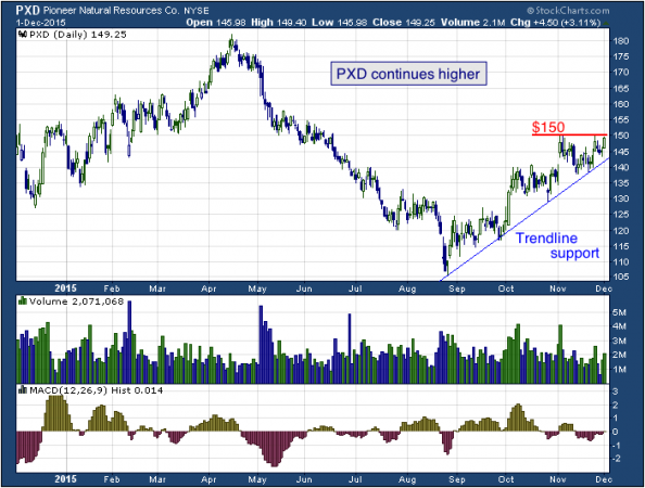 1-year chart of Pioneer (NYSE: PXD)