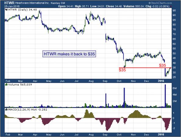 1-year chart of HeartWare (NASDAQ: HTWR)