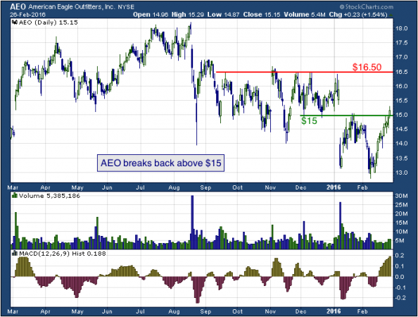 1-year chart of American Eagle Outfitters (NYSE: AEO)