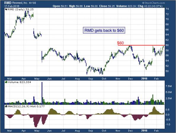 1-year chart of ResMed (NYSE: RMD)