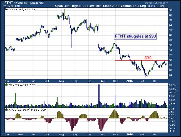 1-year chart of Fortinet (NASDAQ: FTNT)