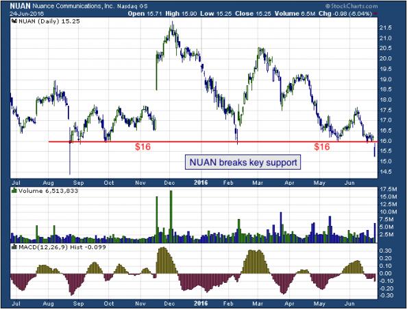 1-year chart of Nuance (NASDAQ: NUAN)