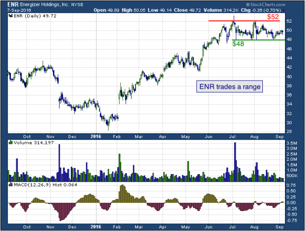 1-year chart of Energizer (NYSE: ENR)