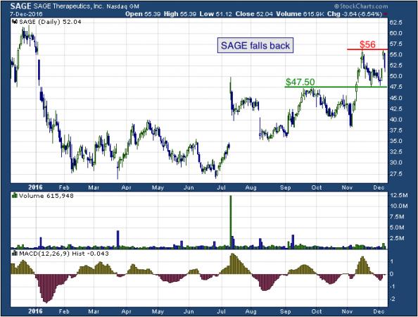 1-year chart of Sage (NASDAQ: SAGE)