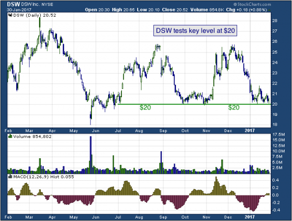 1-year chart of DSW, Inc. (NYSE: DSW)