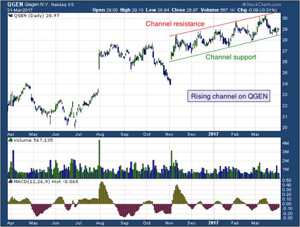 1-year chart of Qiagen (NASDAQ: QGEN)