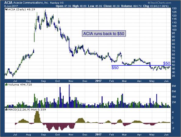 1-year chart of Acacia (NASDAQ: ACIA)
