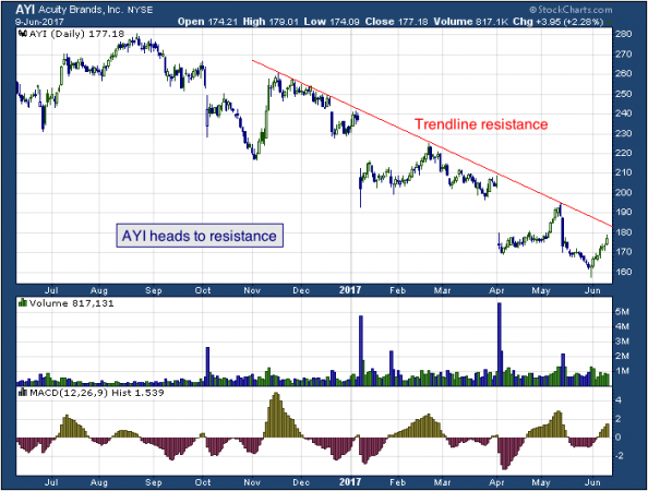 1-year chart of Acuity (NYSE: AYI)