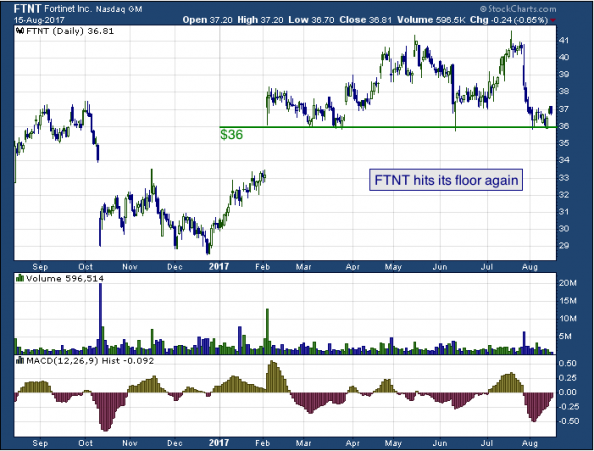 1-year chart of Fortinet (NASDAQ: FTNT)