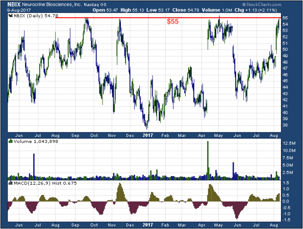 1-year chart of Neurocrine (NASDAQ: NBIX)
