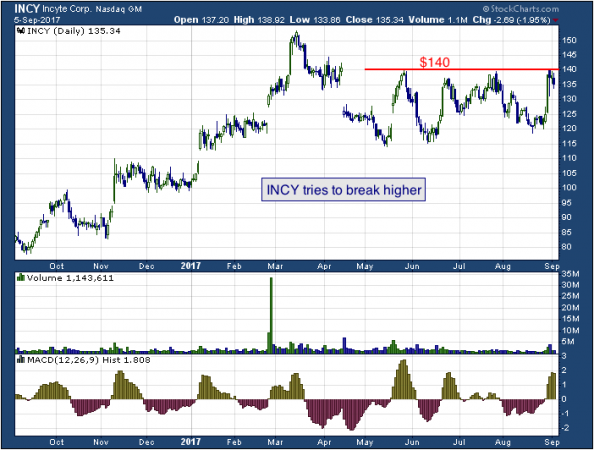 1-year chart of Incyte (NASDAQ: INCY)