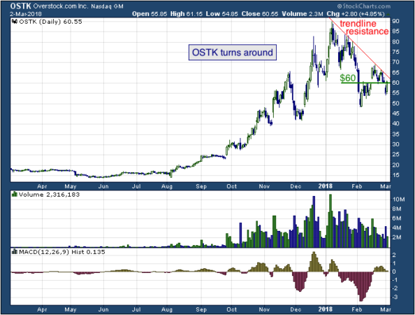 1-year chart of Overstock (NASDAQ: OSTK)