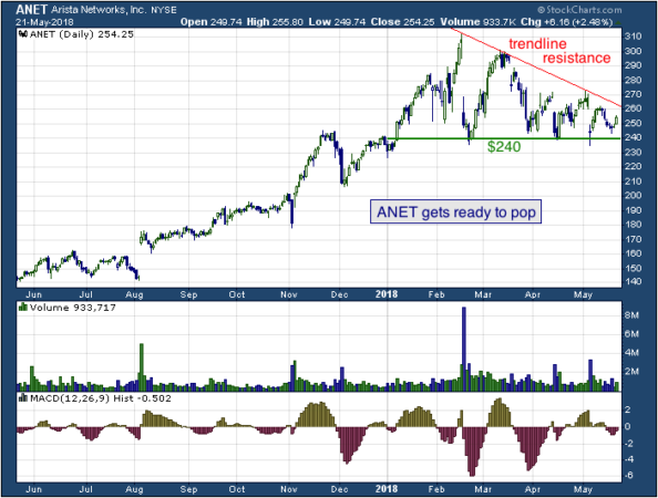 1-year chart of Arista (NYSE: ANET)