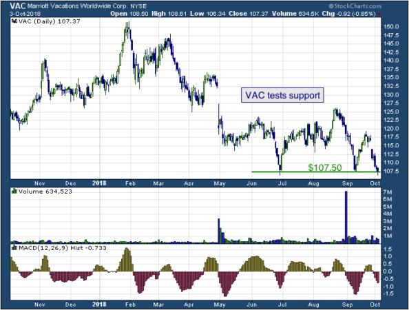 1-year chart of Marriott (NYSE: VAC)