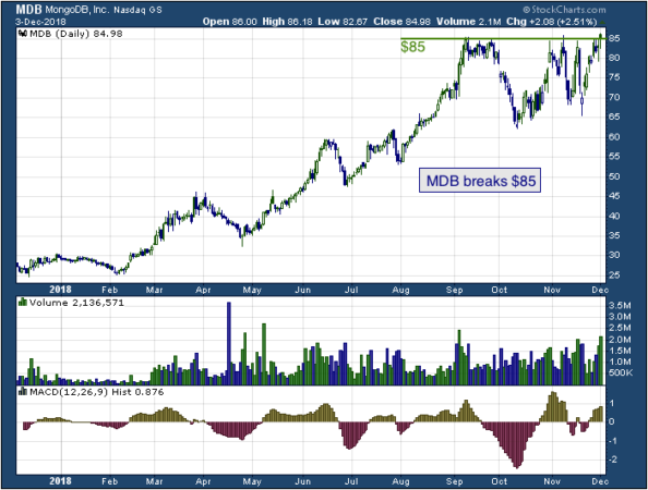 1-year chart of Mongo (NASDAQ: MDB)