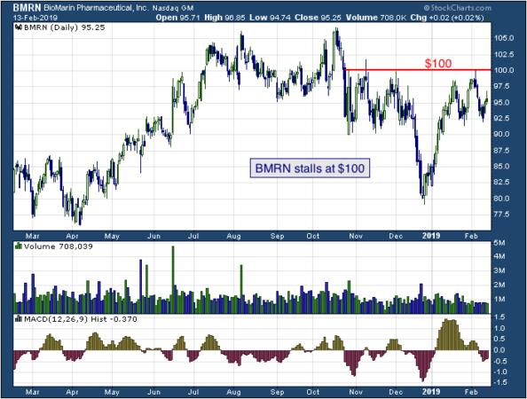 1-year chart of Bio (NASDAQ: BMRN)