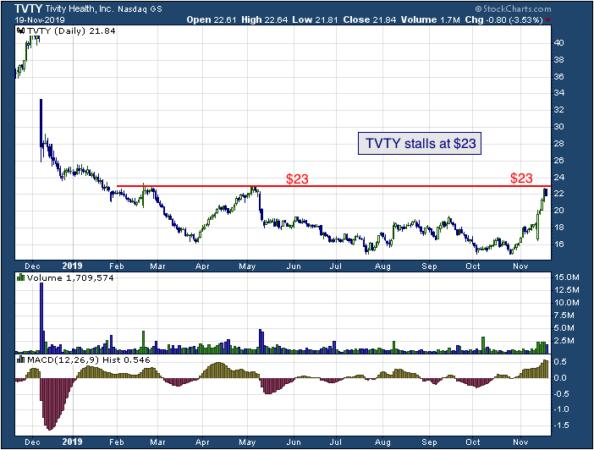 1-year chart of Tivity Health (NASDAQ: TVTY)