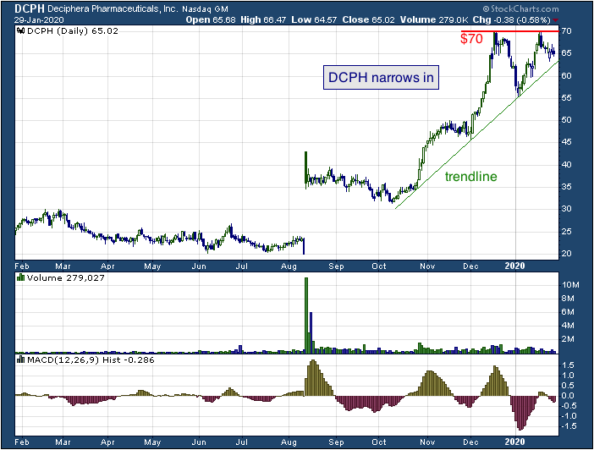 1-year chart of Deciphera (NASDAQ: DCPH)