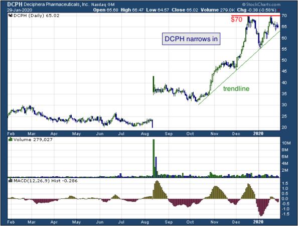 1-year chart of Deciphera (NASDAQ: DCPH)