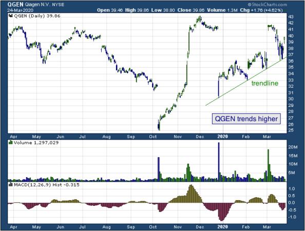 1-year chart of Qiagen (NYSE: QGEN)