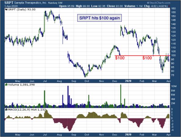 1-year chart of Sarepta (NASDAQ: SRPT)
