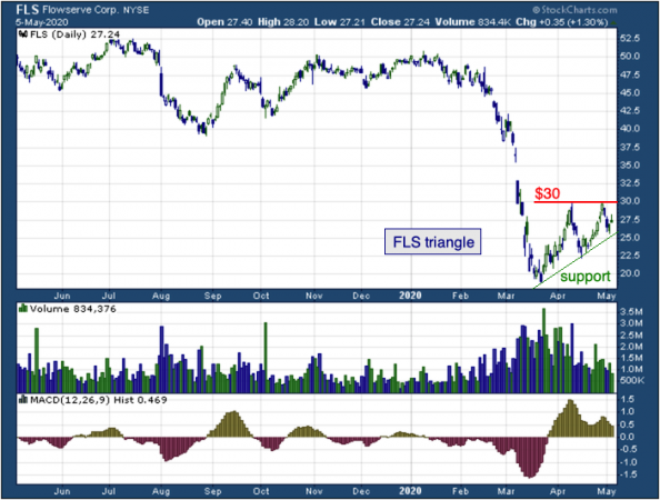 1-year chart of Flowserve (NYSE: FLS)